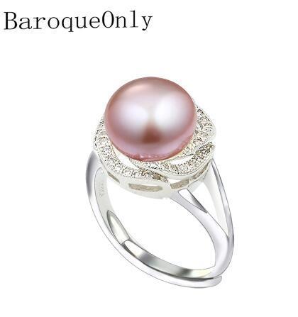 BaroqueOnly 9-10mm natürliche Frischwasserperlenringe für Freundin Nizza justierbarer Ehering, Brot-rundes weißes rosafarbenes Purpur