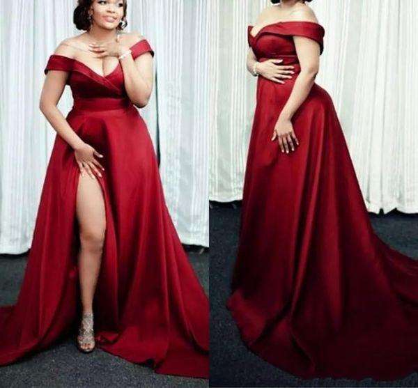 2019 Vermelho escuro A Linha de Vestidos de Noite V Neck Off The Shoulder Side Satin Dividir Trem da Varredura Plus Size Formal Prom Vestidos de Festa vestido