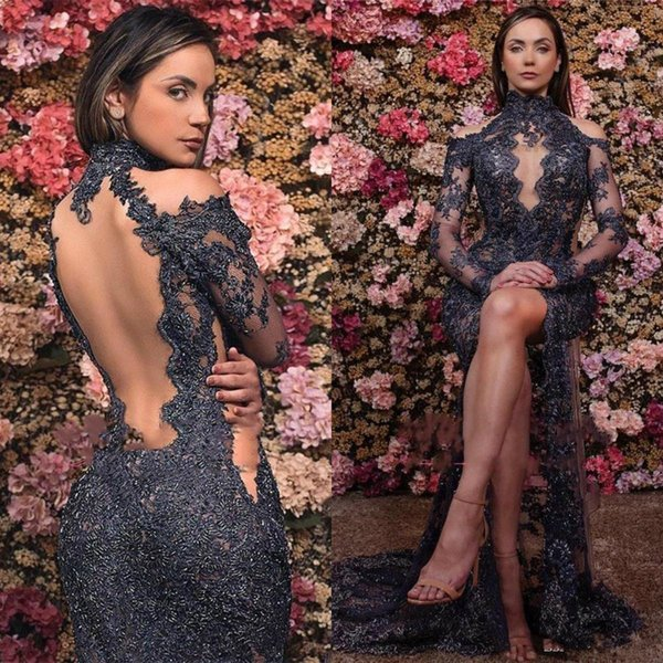 Sexy Illusion Lace Evening Dresses High Neck Hollow Back Front High Slit Formal Party Dress Prom Gowns Arabic Dress Mermaid Backless Vestido