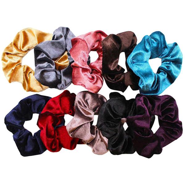 10 Pacote de Luxo Elástico Faixas de Cabelo de Veludo Macio Scrunchie Veludo Elásticos Laços Bobbles Bands Coloridos 10 Cores # 30
