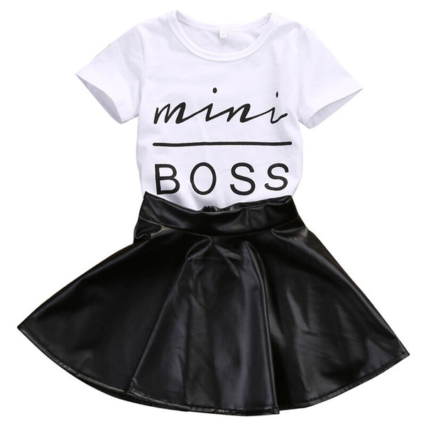 top popular New Fashion Toddler Kids Girl Clothes Set Summer Short Sleeve Mini Boss T-shirt Tops + Leather Skirt 2PCS Outfit Child Suit 2021