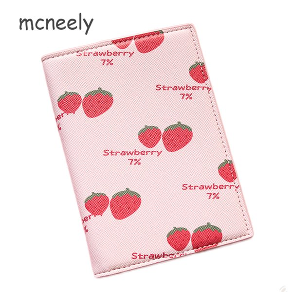 Mcneely Women Strawberry Passport Cover Wallet Travel Passport Holder Bag Thick Business Card Holder Purse Retro Card Case