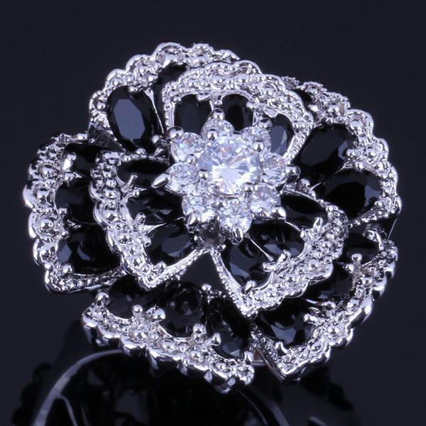Sehr gute riesige Blume schwarz Zirkonia weiß CZ 925 Sterling Silber Ring für Frauen V0533