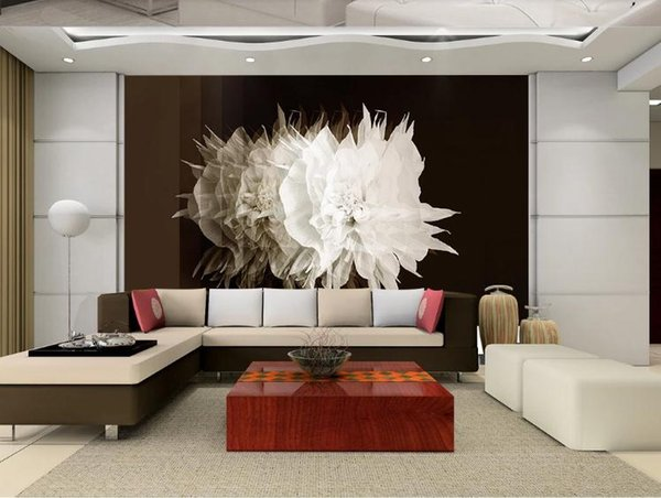 Custom Photo Wallpaper Murals 3D StereoscopicSimple three-dimensional flower art Living Room TV Background Wall Papers Home Decor