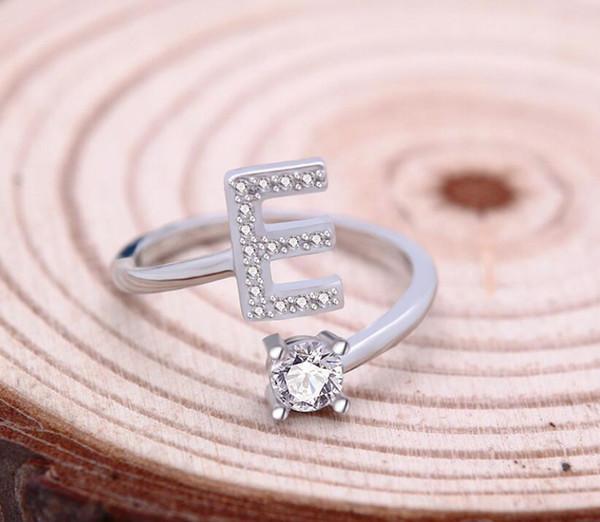 Mode 26 Buchstaben Silber Ring Für Frauen Strass Offene Fingerringe Weiblichen Verlobungsring Schmuck Hochzeit Geschenk