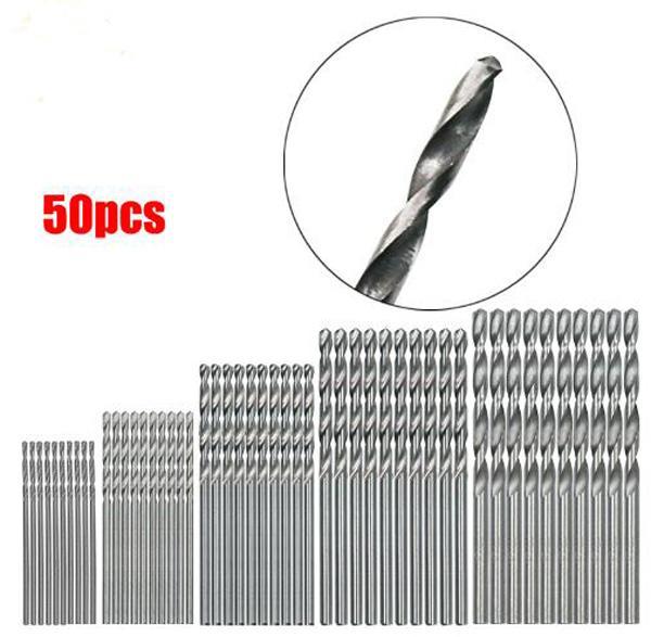 50Pcs HSS 4241 High Speed Steel Drill Bit Set Tool 1mm 1.5mm 2mm 2.5mm 3mm