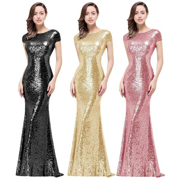 Preto Champagne Ouro Da Dama de Honra Vestidos de Lantejoulas Prom Vestido de Lantejoulas Completa Vestido de Noite Longo para Festa de Casamento Capô Voltar Vestidos de Baile
