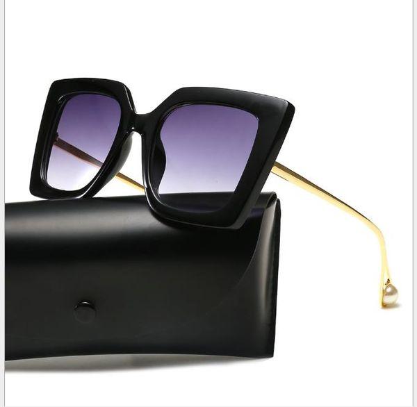 New Sunglasses Female Net Red Fashion Square Pearl Sunglasses Female