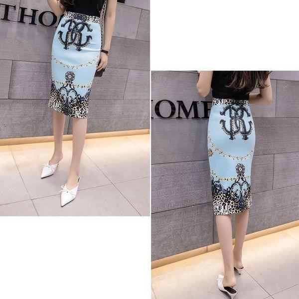 Pencil Women Skirt Gemetroc Printed Fashion High Waist Elasticity Slim Office Lady Skirts M-2xl Choose Summer Cool Breathable