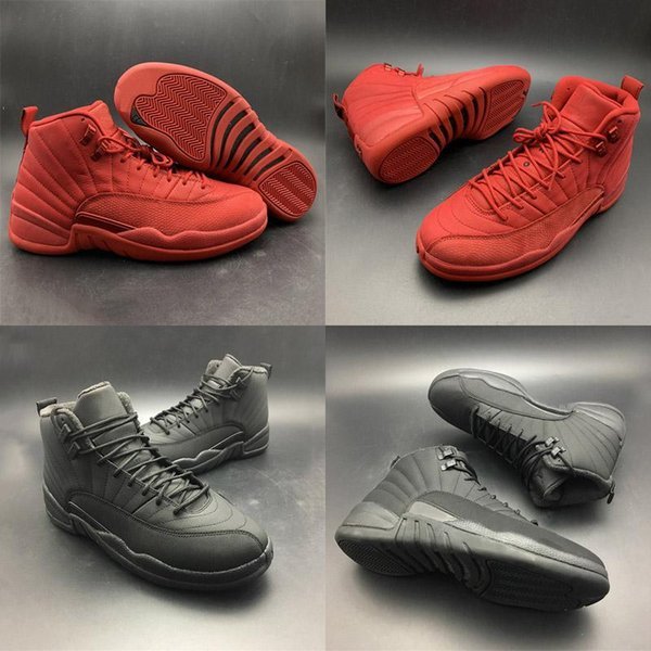 TOP Bulls Winterized Basketball Shoes 12s Red Black Christmas Gifts Fahion Designer Real Leather Mens Athletic Trainer Sneakers