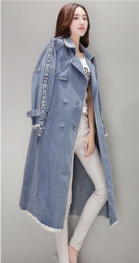 2019 Yeni tasarım moda kadın mektubu baskı kruvaze turn down yaka denim kot midi uzun sashes trençkot abrigos casacos