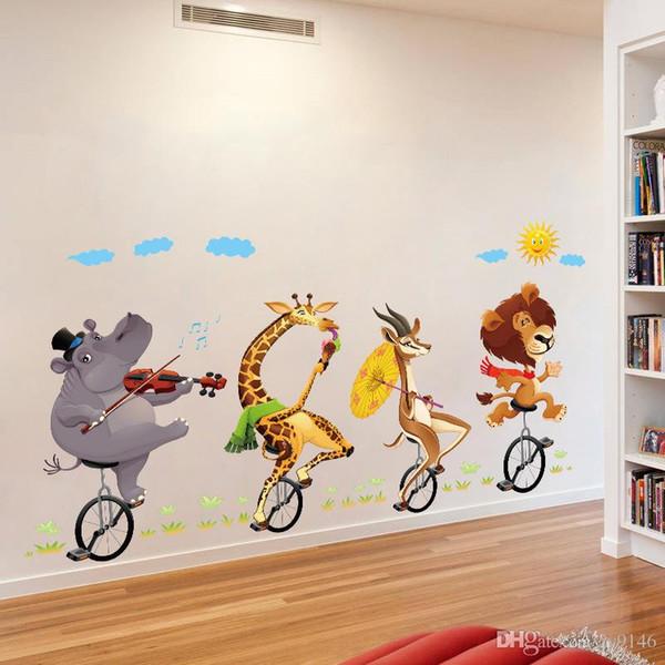 Animal Ride Bikes Стикер Стены DIY Wall Art Наклейки для Детская Комната Гостиная и Детская Домашнего Декора