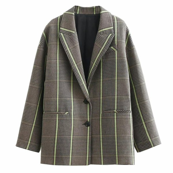 2019 Spring New Women Vintage Plaid Blazer Two Piece Set Long Sleeve Blazers Mini Skirt Suit Casual Office Outfits