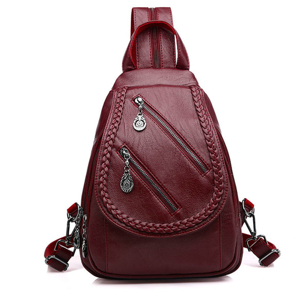 Fashion Double Zipper Leisure Women Backpack PU Leather Backpacks Female School Shoulder Bags for Teenage Girls Travel Back Pack