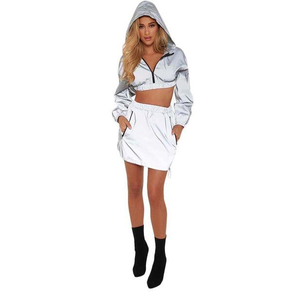 Womens Two Piece Define Vestidos revestimentos encapuçados casacos Tops Mini-Vestido Outfits Ladies Sexy Windbreaker Vestidos Tracksuits Casual