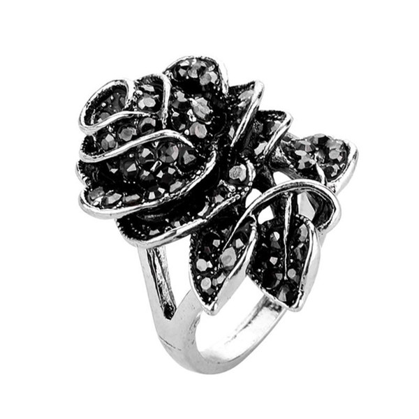 852671ed09 Black Rose Flower Ring Vintage Fashion Rings Women Crystal Jewelry Gifts