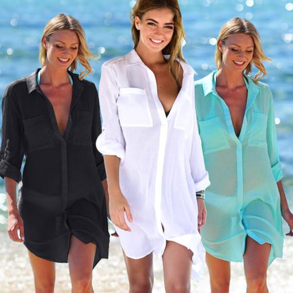 Pareo Praia Túnica Desgaste das Mulheres Mulheres Saias De Verão Roupão Túnicas Womens Bather 2019 Novas Camisas Saia Pockets Pockets Breasted Y19071801