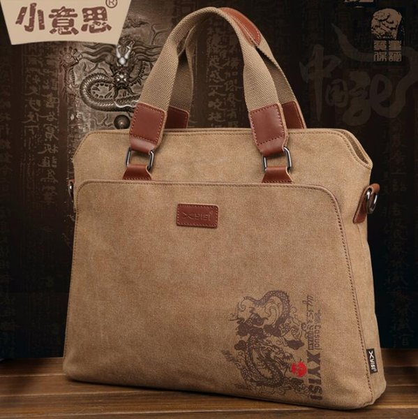 Factory wholesale brand men handbag fashion printed canvas handbag business canvas briefcase casual Joker printed leather computer bag