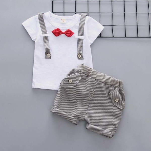 good quality summer boys clothing sets kids boys tops+shorts clothes suit boys gentleman style clothing suit little child summer set