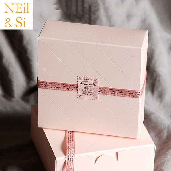 100pcs Pink Cake Box Wedding Party Cupcake Gift Bakery Maccaron Pastry Cookies Biscuits Packaging Green Paper Boxes Free Shipping