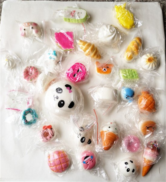 Acheter Kawaii Squishy Slow Rising Rilakkuma Panda Donut Sucreries Crème Glacée Doux Squishies Jouets Mignon Jumbo Buns Téléphone Bretelles Enfants