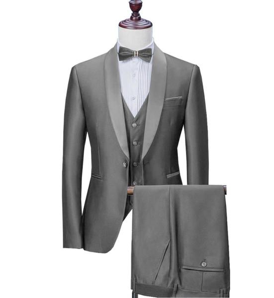 Men Suit Satin Casual Formal Three Pieces Business Groomsmen Grey White Burgundy Lapel Tuxedos for Wedding Blazer+Pants+Vest