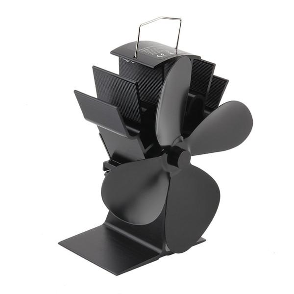 Durable 4 lames en aluminium Powered Heat Noir Poêle Ventilateur Poêle économie de carburant Ventilateur écologique poêle à bois