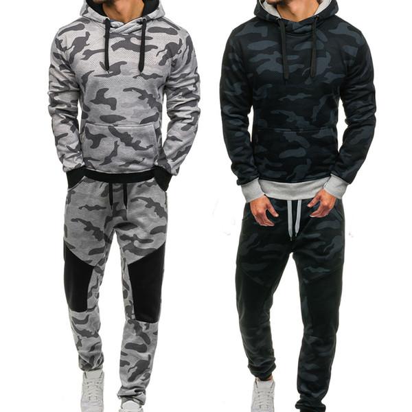 2019 Fashion Tracksuit Men Sport Men's Autumn Winter Camouflage Sweatshirt Top Pants Sets Sports Running Suit Tracksuit Sets
