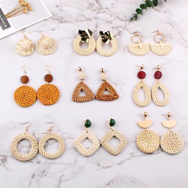 Melhor senhora Handmade Gota rodada brincos para mulheres de madeira Wedding Party Rattan Weave palha presente na moda Dangle jóias por atacado
