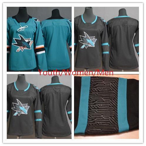 2019 San Jose Sharks Team-Trikots Leere Nr. Name Nr. Anzahl Schwarzes Grün Grüne Trikots Jugend Männer Frauen Hockey Trikot