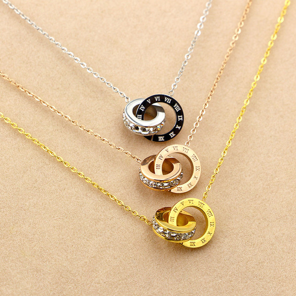 Nouveau petit diamant carré chiffre romain numérique double bouton collier court femelle mode coréenne titane acier plaqué or rose chaîne de verrouillage