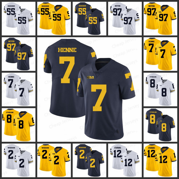 huge discount 3867e 35123 2019 Mens Michigan Wolverines Jerseys 55 Brandon Graham 97 Brennen Beyer  Chad Henne 8 Channing Stribling 2 Charles Woodson College Jersey From ...