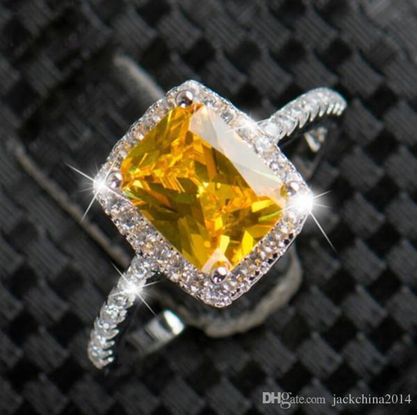 Victoria Wieck lujo de la joyería hecha a mano choucong 925 Cojín plata esterlina Forma Milti color Amtehyst Topaz de las mujeres del regalo de boda anillo de la venda