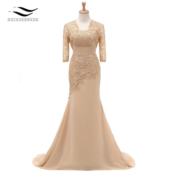 Three Quarters Sleeves Champagne Mermaid Lace Formal Evening Dress With Jacket Mother Of Bride Gown For Wedding Party Sl-m002 Y19072901