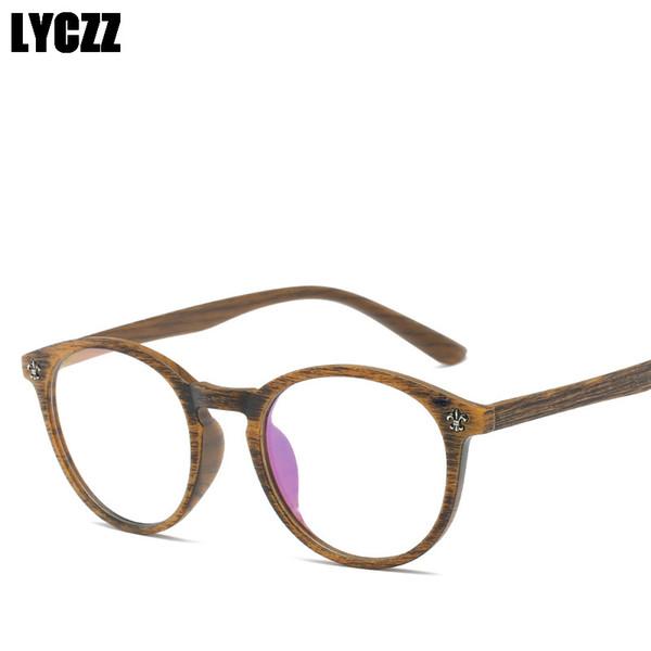 LYCZZ Ultraleicht holzmaserung Korean Fashion TR90 Brillengestell Klare Linse Optische Brillenfassungen Eyewear Retro Spectacle