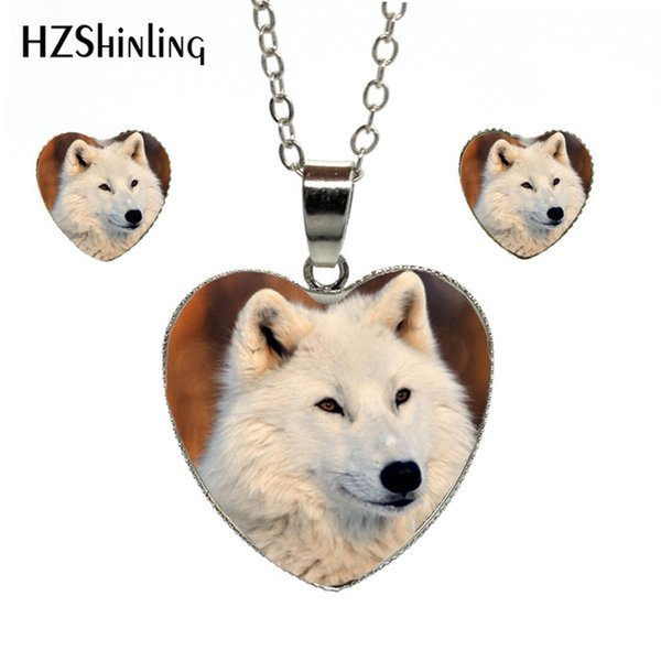 New Arrival Silver Chains Heart Necklace Handmade Snow Wolf Art Pictures Elegent Heart Necklace Earrings Heart Jewelry Set