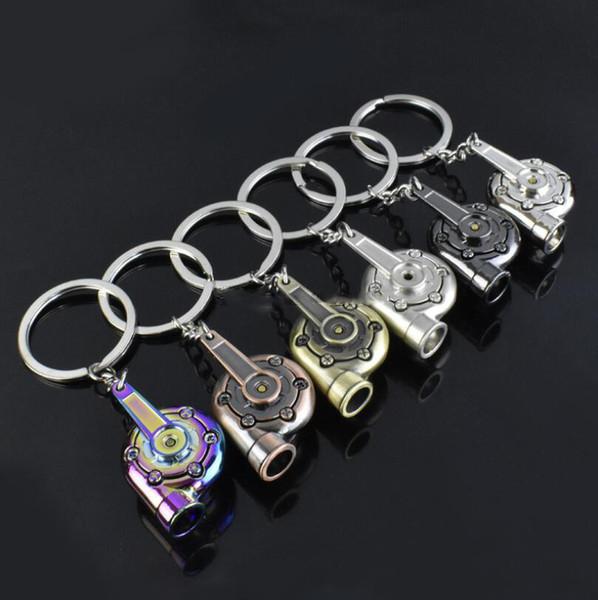 Whistle Sound Turbo Keychain Sleeve Bearing Spinning Auto Part Model Turbine Turbocharger Key Chain Ring Keyfob Keyring Free Shipping