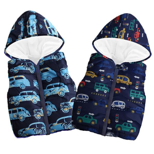 Niño niños bebé Grils Niños sin mangas con capucha de Gaza chaleco caliente de los pantalones unisex de rayas capa encapuchada caliente Chaleco Tops CAR 827