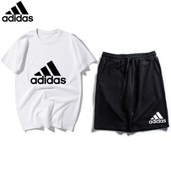 2019 New Arrivals Summer Mens tracksuit short sleeve T-shirt and shorts casual hoodies sports suit sports set men's Round neck Sport AD