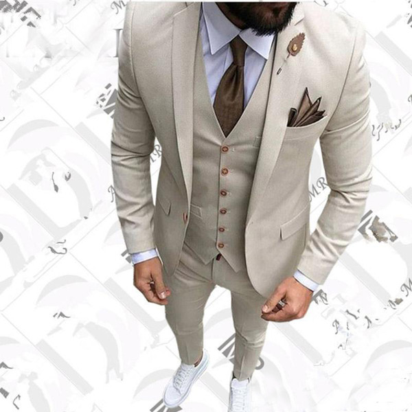 Designer Kakhi One Button Mens Suits Slim Fit Vent Groomsmen Wedding Tuxedos For Men Peaked Lapel Prom Business Suits (Jacket+Pant+Vest)