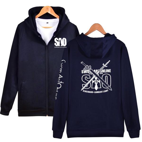 2019 Sword art online Zipper hoodies Boy Girl Japan Anime Hip Hop High Quality Hoodies Zipper men/women Sweatshirt Clothes top