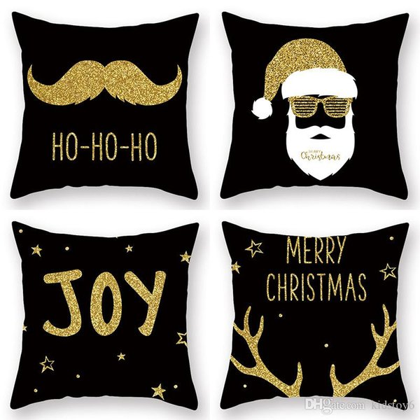 Newbrand Indoor Christmas Decorations Cushion Covers Polyester Square Black  Pillow Covers Golden Beard Sofa Throw Pillow Sham Kids Christmas Toys Best  ...