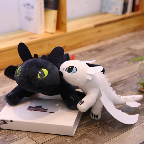 2019 35 centímetros New Movie (14 polegadas) Como treinar seu dragão 3 Plush Toys desdentado Luz Fúria macia Dragão Bichos de pelúcia boneca 2 cores C6211