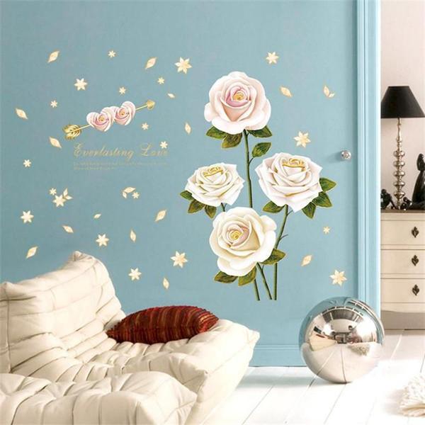 New Romantic White Rose Flowers Wall Sticker Home Decor Bedroom TV Sofa Backround Wall Poster Wallpaper PVC DIY Plants Art Mural
