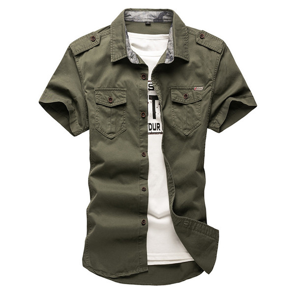 2019 New Mens Cargo Tactical Shirts 100% Cotton Short Sleeve Work Brand Military Shirt Chemise Plus Size 5xl