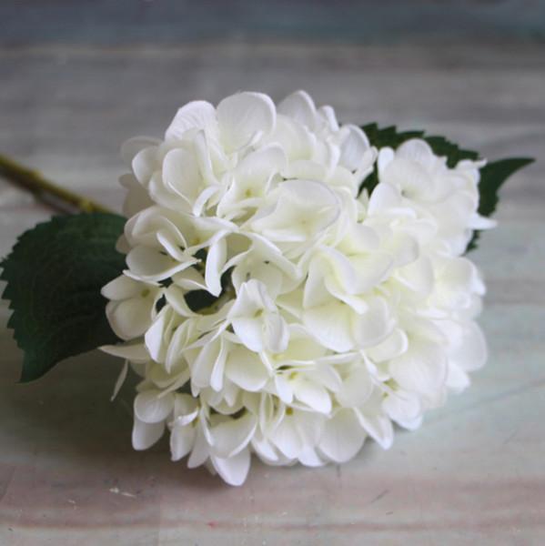 10 cores cabeça de flor de hortênsia artificial 45 cm falso de seda único toque real hortênsias para peças centrais do casamento festa em casa flor decorativa