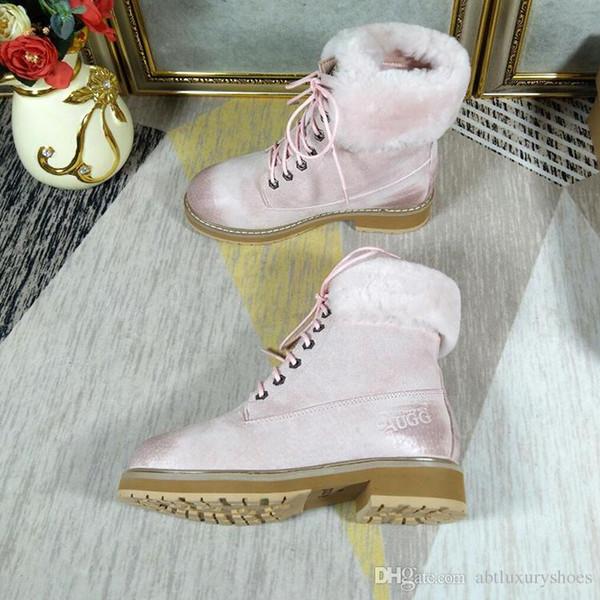 2018 Fashion Snow Boots Women Winter Shoes Warm Fur Plush Insole Ankle Boots Women Shoes Lace-Up VGG Vintage Style Platform Square Heels
