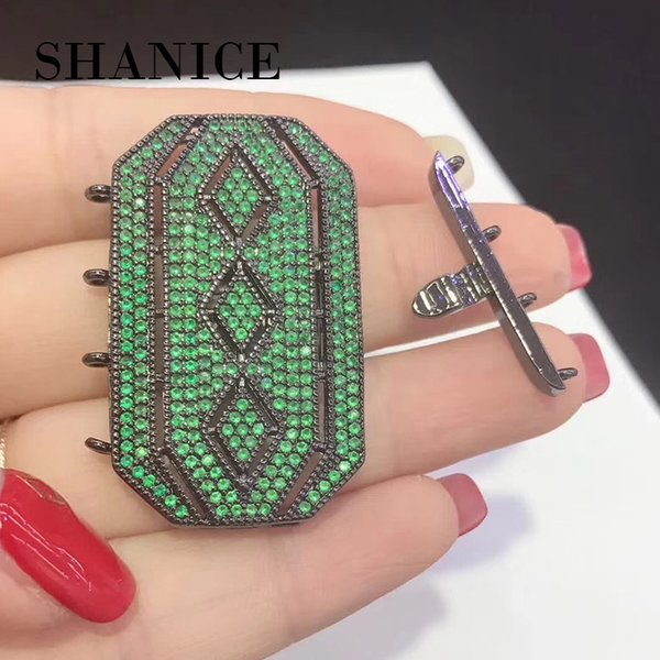 SHANICE Square Shape Full Crystal Pearl Necklace Pendant Connector Locket Micro Paved CZ Tassels DIY Making Jewelry Accessory