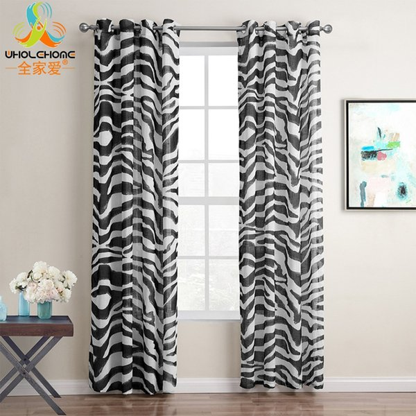 top popular Modern Grommet Curtains Tulle Black Zebra Waves Design Curtain Sheers Panel Drapes for Living Room Window Decor 1PCS Lot 2021
