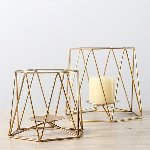 Geometric Candlestick Nordic Minimalist Style Home Ornaments Wall Sconce Matching Steel Small Tealight Candle Holders Wedding Decor
